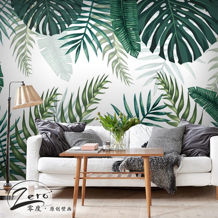 Southeast Asia tropical rain forest plant wallpaper living room TV  background mural ins green banana leaf aa58cbfa8027