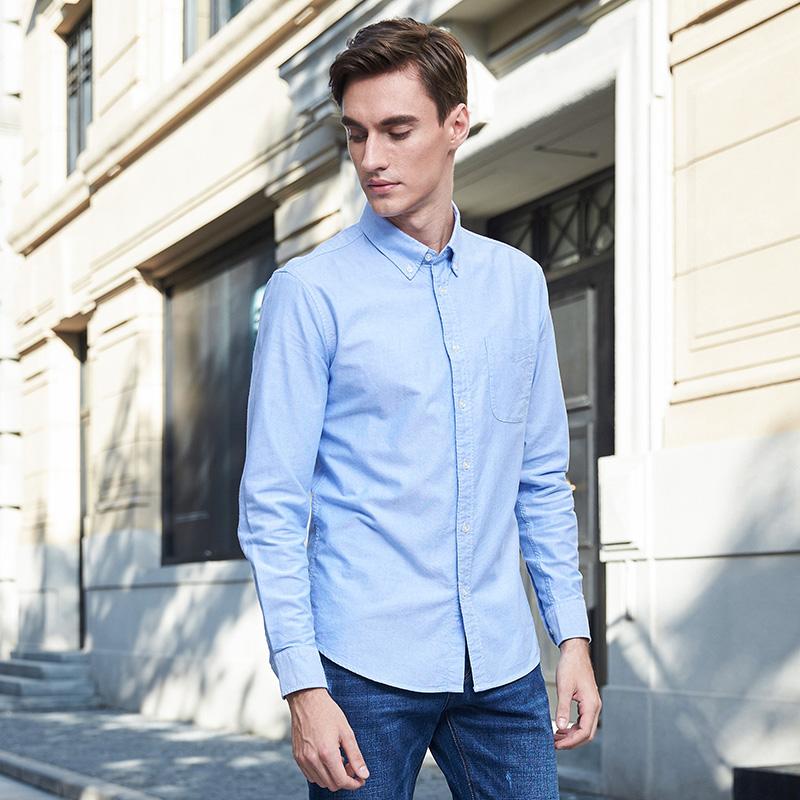 保罗男装纯棉男士衬衫长袖休闲男秋季修身全棉纯色牛津纺青年衬衣