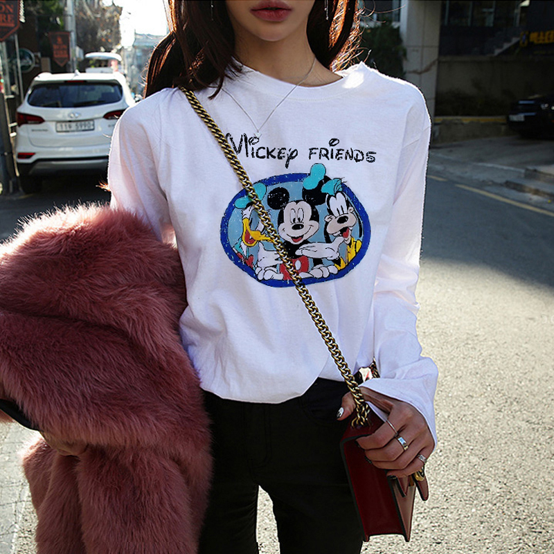 Counter spring and autumn new cartoon print Mickey Korean version long-sleeved white T-shirt female loose cotton round neck inside coat
