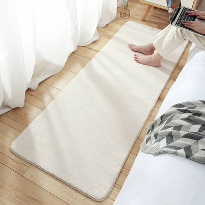 Nordic bed front small carpet bedroom girl heart room full of wool bedside cushion newlywed white plush floor mat