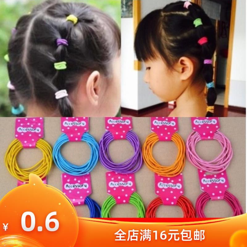 韩版可爱橡皮筋女孩头花幼儿童扎头发绳发圈帖色头绳头饰品批发