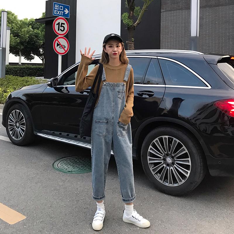 牛仔背带裤女2019春夏季女装新款韩版宽松减龄显瘦高腰九分牛仔裤