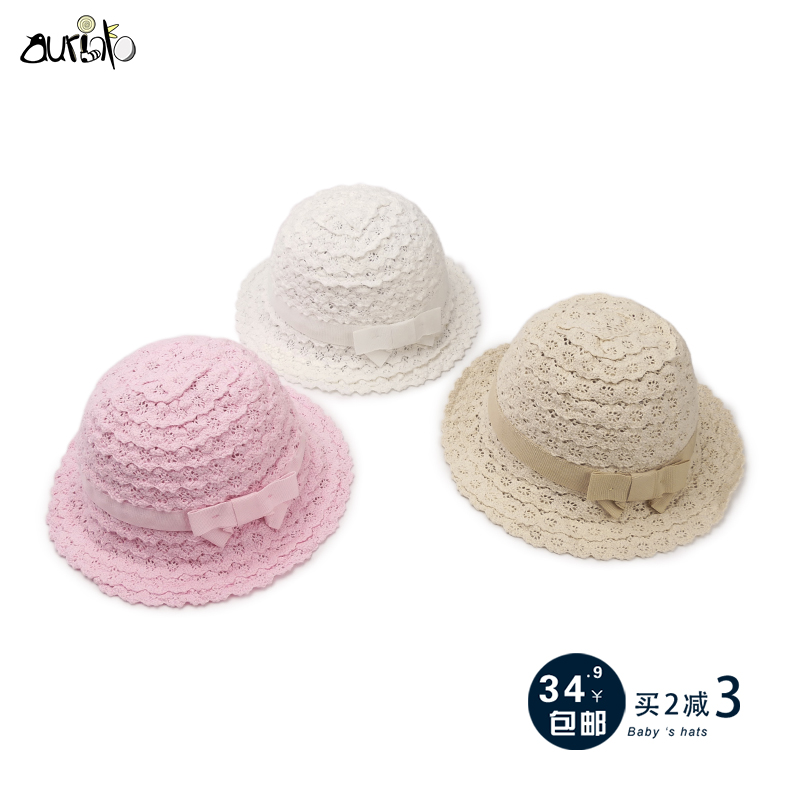 040e7ae8a8f6d Baby hat summer thin section female baby straw hat summer sunscreen  fisherman hat Princess female treasure 0-1-3 years old 5