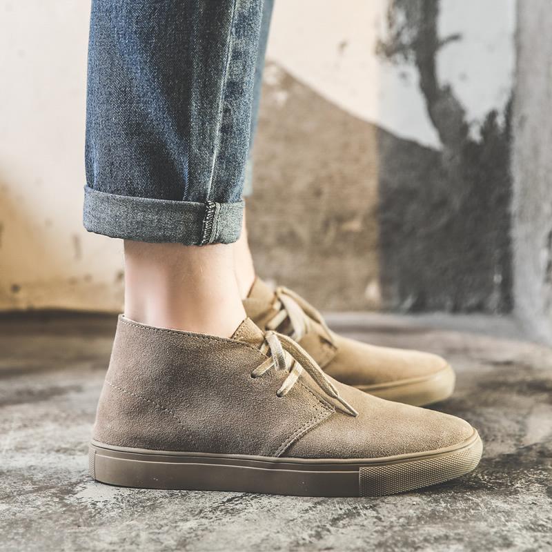 马丁靴男夏季透气短靴男靴子牛皮复古高帮鞋板鞋英伦风中帮沙漠靴