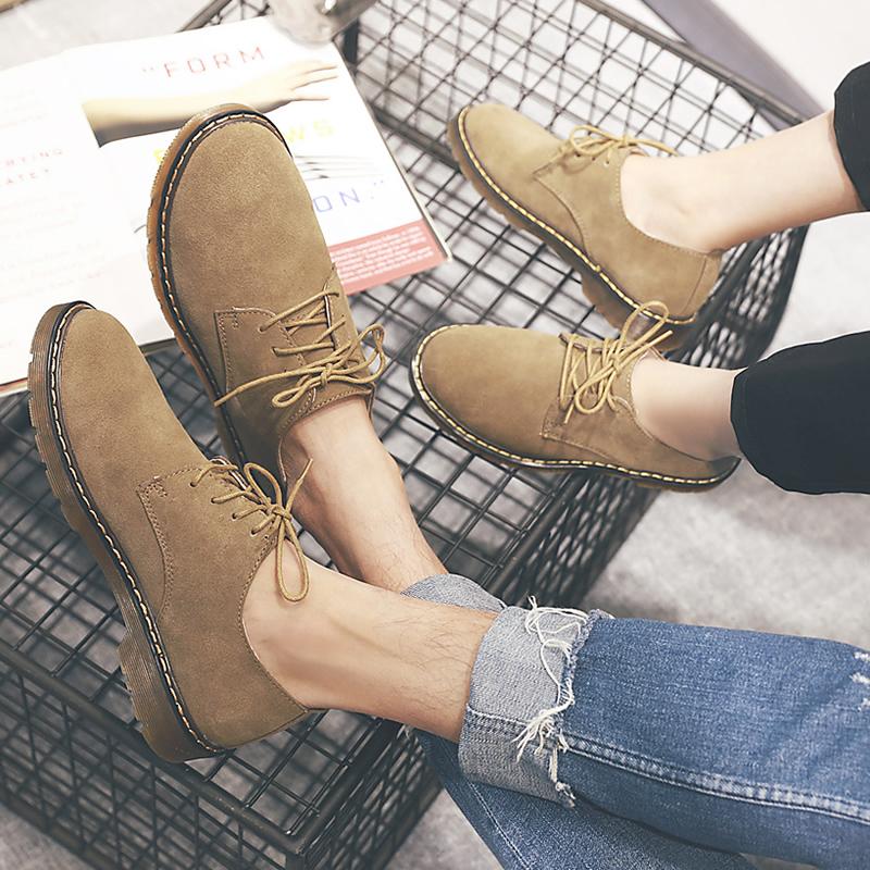 男士英伦皮鞋休闲鞋马丁低帮鞋子反绒工装真皮鞋潮小码男情侣夏季