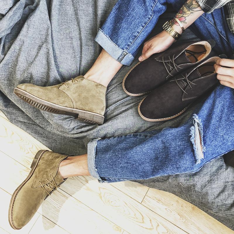 真皮英伦风马丁靴男靴子短靴潮高帮鞋复古百搭中帮透气沙漠靴夏季