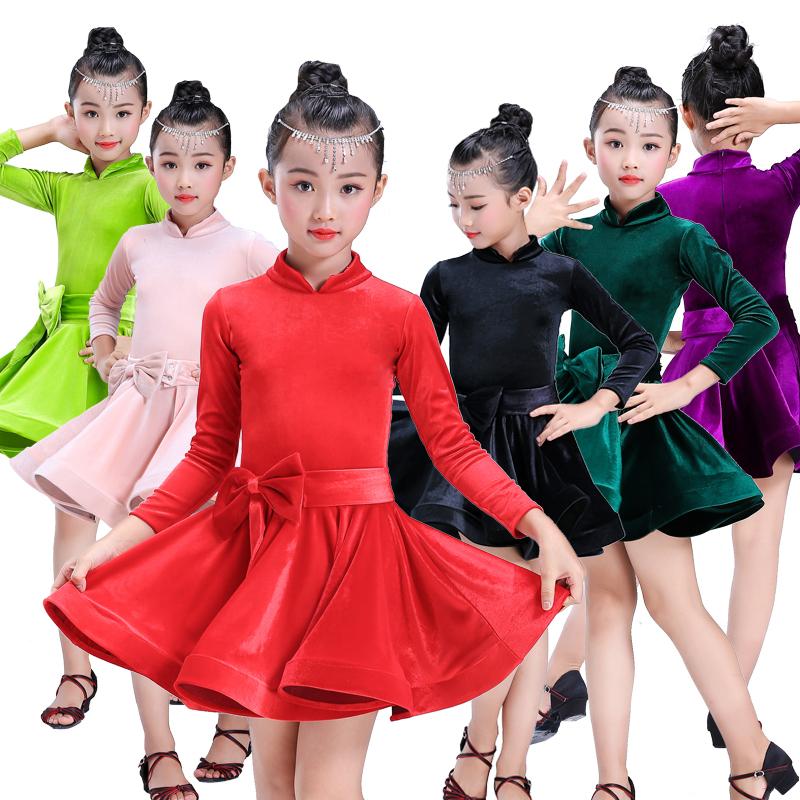 Latin dance skirt, children girl, velvet long sleeved training suit, children's competition performance dress, dance skirt