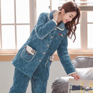 睡衣女士冬季珊瑚绒三层加厚加绒保暖夹棉法兰绒可爱秋冬天家居服