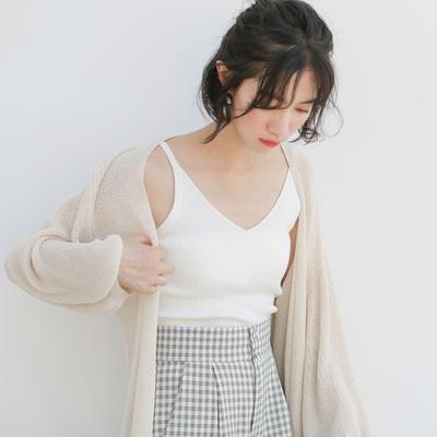 无袖背心吊带女学生韩版2019新款夏季宽松百搭小心机外搭针织上衣