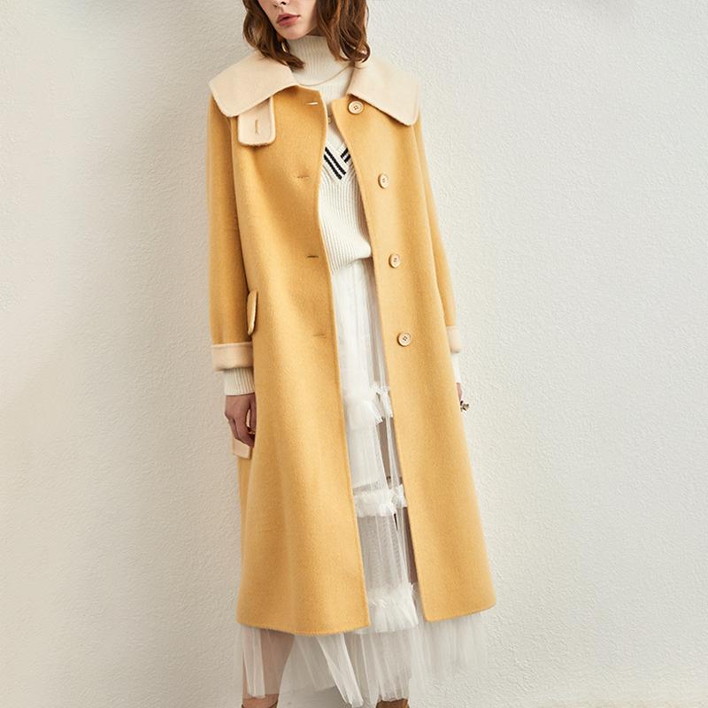 高端时尚系带双面呢大衣女2019新款冬季中长款宽松毛呢外套零羊绒