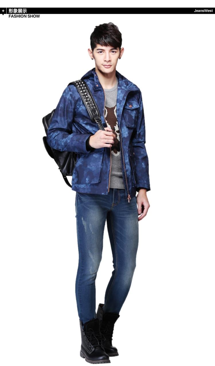 Jeanswest nam áo gió mùa xuân và mùa thu của nam giới trùm đầu Slim dài coat autumn coat nam