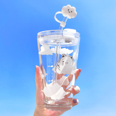 Mori water cup office with simple and fresh ins style straw-style cup with lid female cute girl glass
