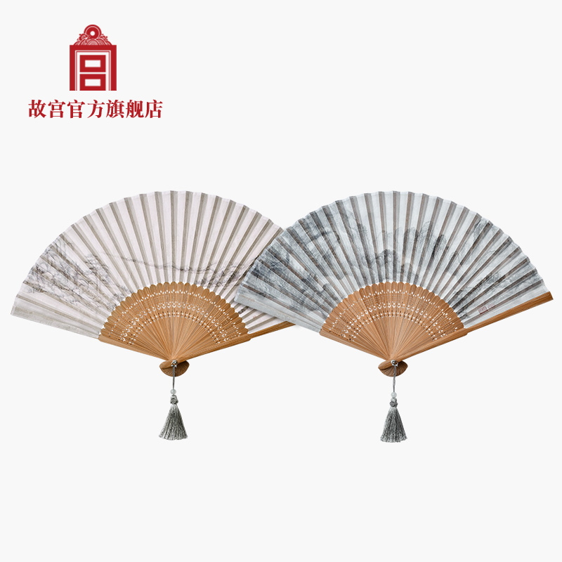 Forbidden City collection art folding fan Lushan Baiyun map Lake Hunan Landscape Map flower Luo fan the Palace Museum official