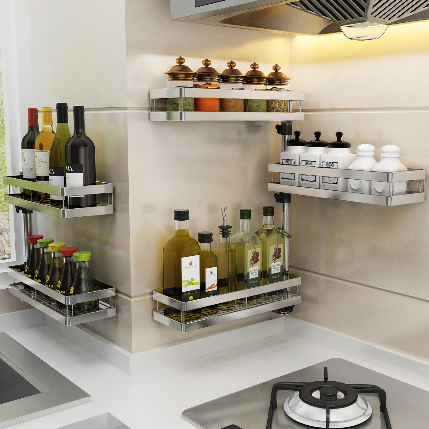 Punch Free Stainless Steel Kitchen Shelves Oil And Soy Sauce