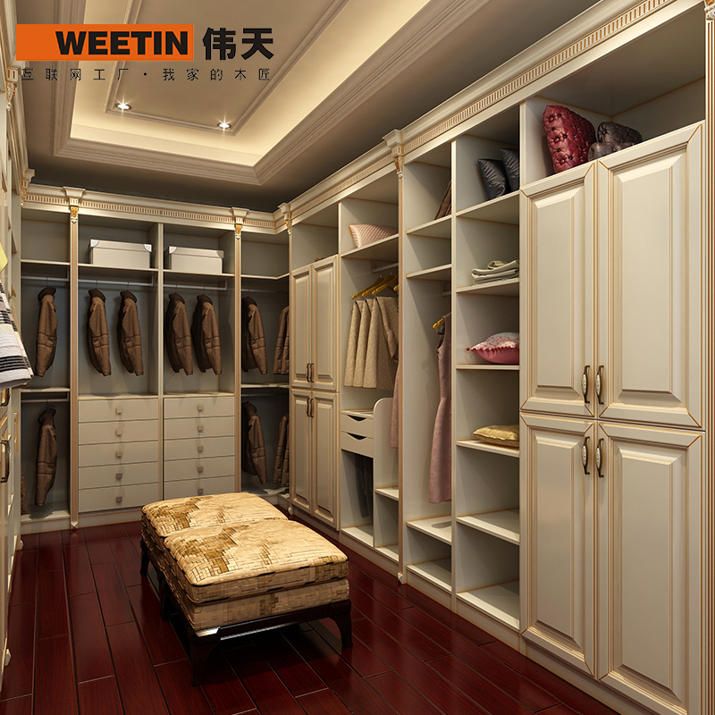 Weitian Whole Wardrobe Closet Custom Wood Whole Corner Open Wardrobe Custom  Closet Design