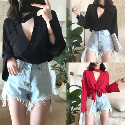 200 pounds fat mm large size women's shirt long-sleeved Halter V-neck hollow long sleeve shirt loose thin Hong Kong taste lazy