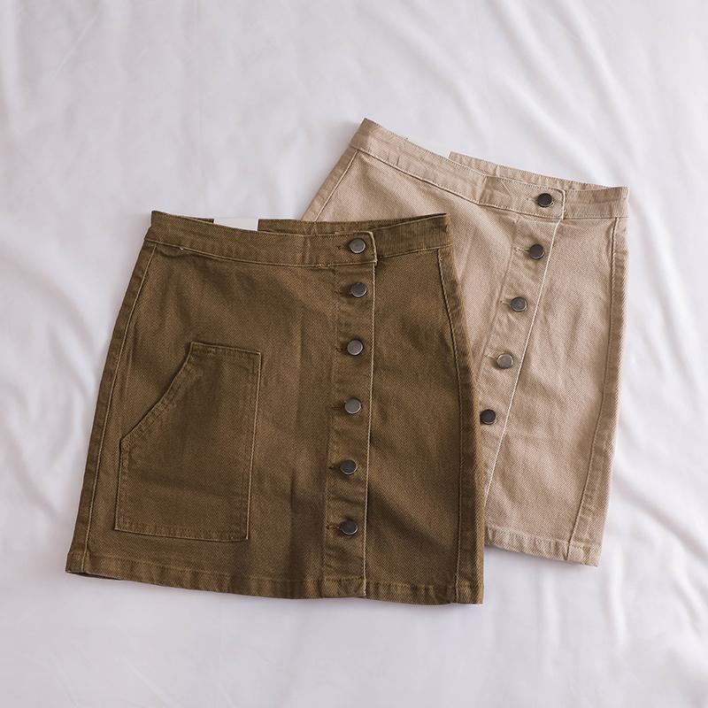 """""""Clear Treasure House"""" denim skirt girl tide summer new single-row buckle high waist A"""