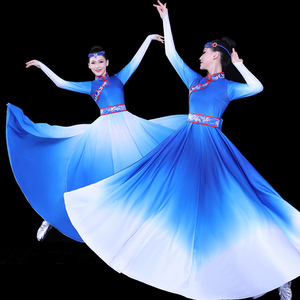women blue color Mongolian dance costumes for stage performance gowns mongolia modern ethnic costumes