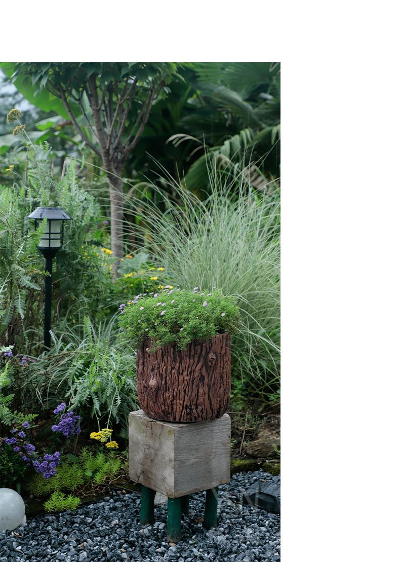 Imperial courtyard hotel three clay legend garden furnishing articles, green plant POTS bark texture flowerpot cement red pot flower bed