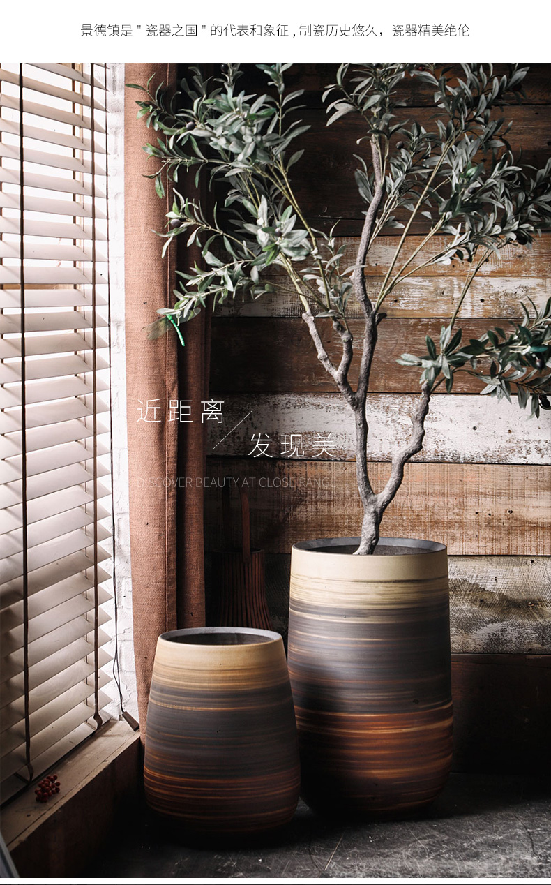 Royal three clay ceramic flower pot planting large caliber basin home decoration to the hotel courtyard garden decoration sitting room furnishing articles