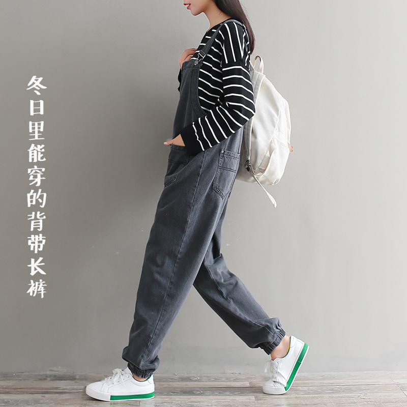 Джинсы женские Длинные оранжевые джинсовые комбинезоны женские зима 2017 новый свободный корейский версии Джокер жира мм большой ярдов студентов широкие брюки