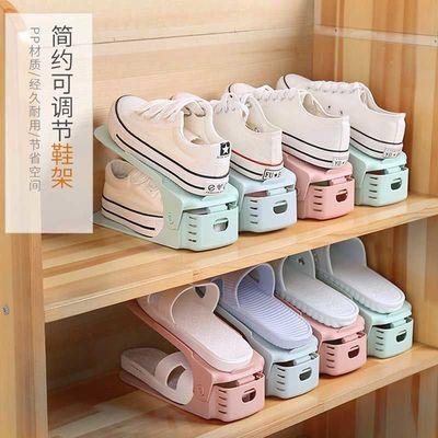 1/5/10个装北欧可调节双层收纳鞋架简易加厚塑料鞋子收纳鞋托架