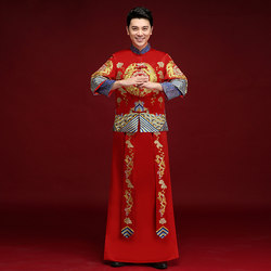 Xiuhe clothing men's groom clothing Chinese wedding dress dragon and phoenix gown Tang suit men's Xiuhe men's plus size show and men