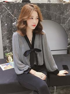 2019 весна новый корейский бант сетка шифон рубашка женщина дикий свободный рубашка очень бессмертный из западный стиль куртка, цена 431 руб