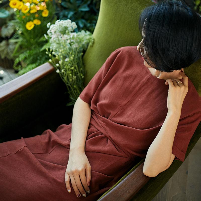 Ching's长裙绑带高腰a长裙连衣裙复古高级开叉筒裙修身中棉麻褶皱
