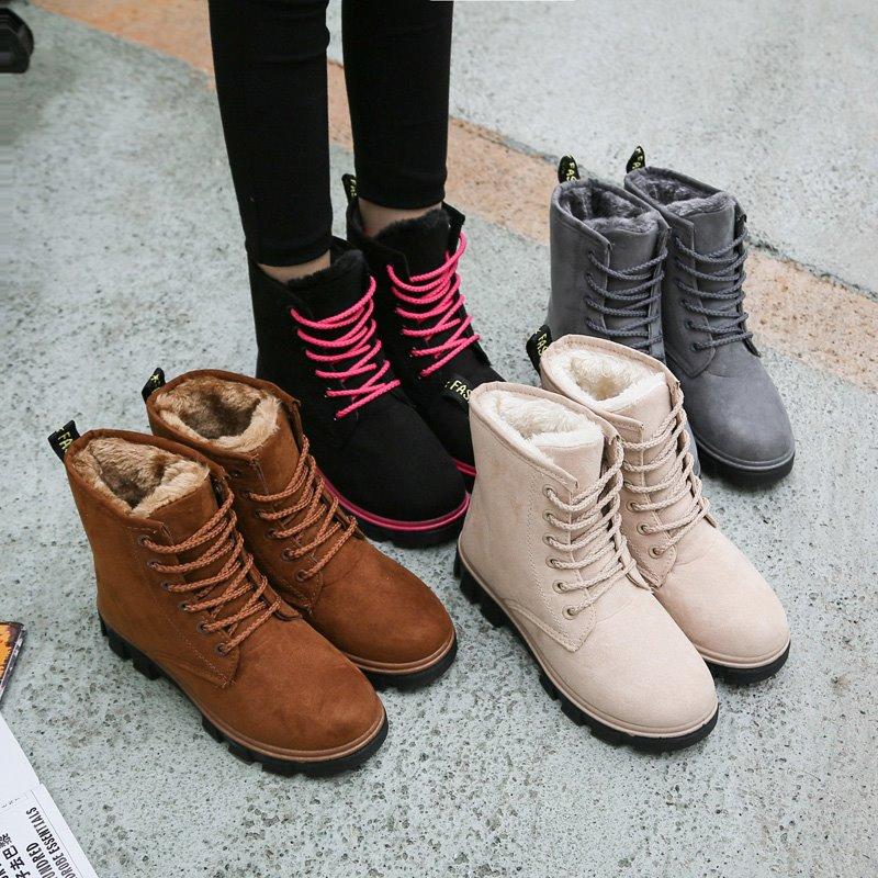 可爱复古加绒马丁靴女学生秋短靴学院加厚女生秋季秋冬季嘻哈学生