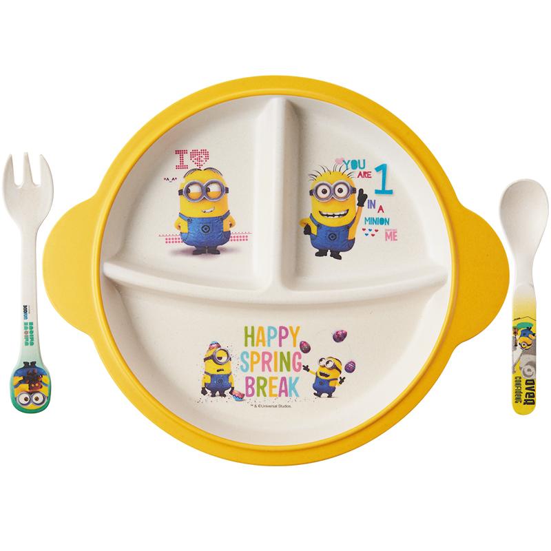 小黄人儿童餐盘竹纤维分格家用卡通一体式宝宝可爱餐具套装防摔