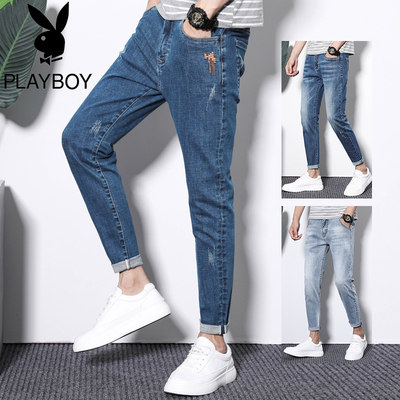 Flower Banzi Jiubi Jeans Men's 2021 Spring and Summer Thin section Leisure Slim Proud Panty Trouble Pants