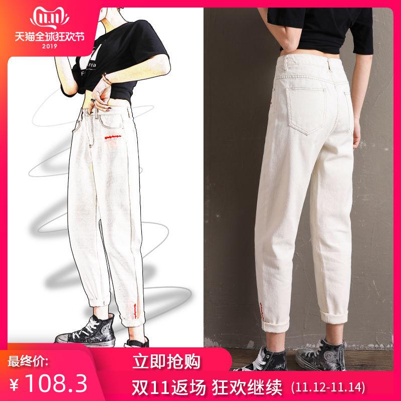 Белые брюки женщина весна 2019 новый значительно тоньше свободный брюки чистый красный бабушка брюки талия старый отец брюки 586121372859