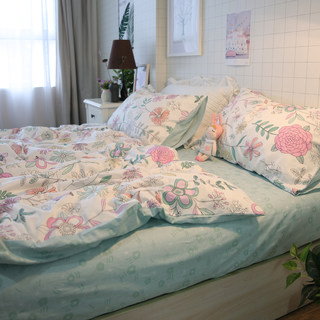 Small fresh three-piece dormitory single American pastoral hand-painted small floral cotton bed quilt cover four-piece bed
