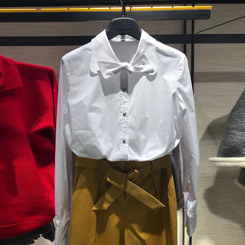 希哥弟思衬衣女装专柜2019新款秋冬款百搭外穿白色正品时尚衬衫