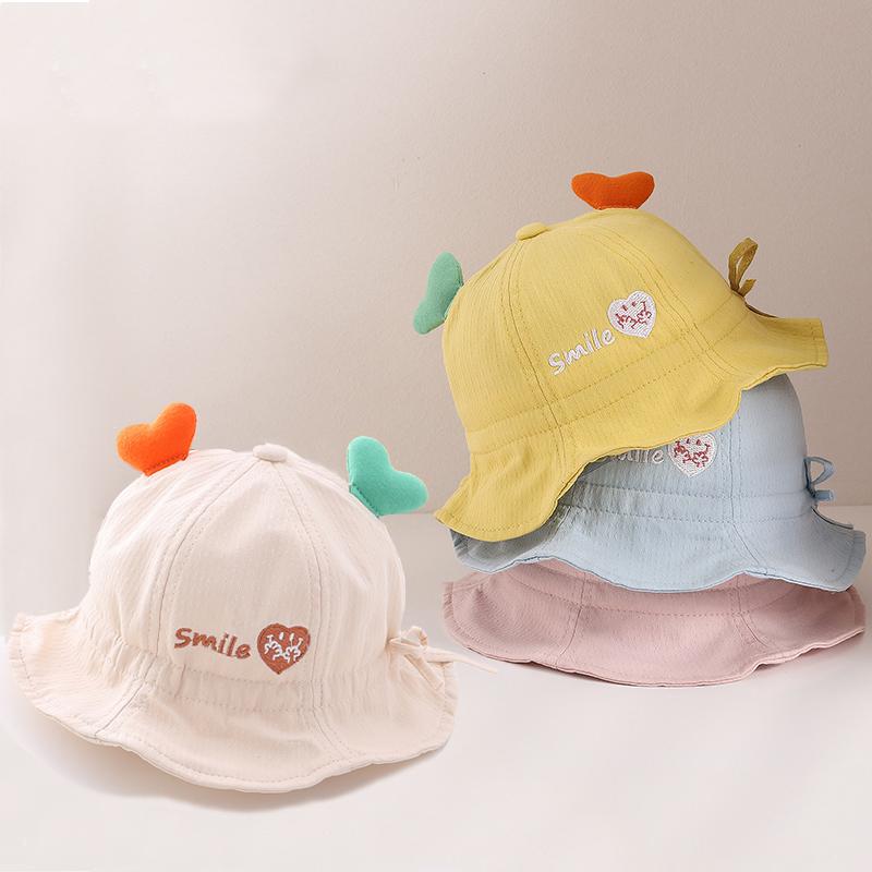 婴儿帽子春秋薄款可爱超萌纯棉儿童渔夫帽女宝宝遮阳帽男女童春夏