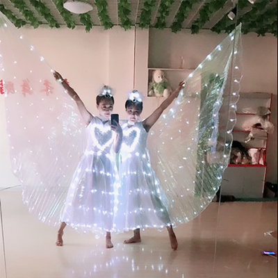 Luminous wings, adult butterfly dance, belly dance, cloak dress, ballet costume, wedding dress, big wing performance costume.