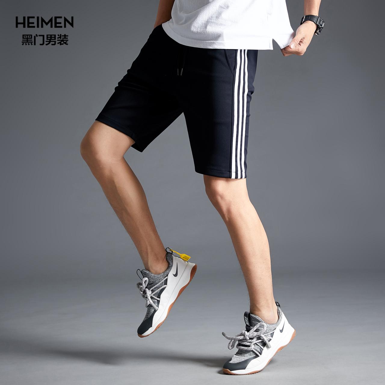 三条杠运动裤男短裤潮牌五分裤男士夏薄款条纹中裤沙滩裤宽松休闲