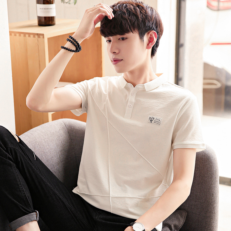 e62bfbfecbdf 2019 summer new short-sleeved T-shirt male Korean version of the white lapel  tide compassionate young men Paul polo shirt half-sleeved