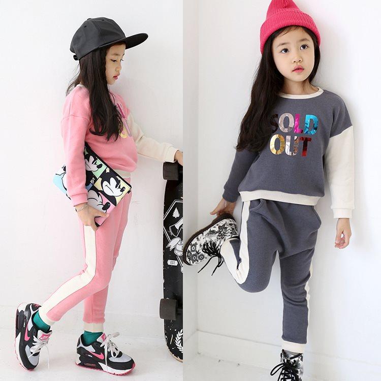 非韩贝2016秋款休闲长袖纯棉两件套中大童新款韩版女童套装 精品