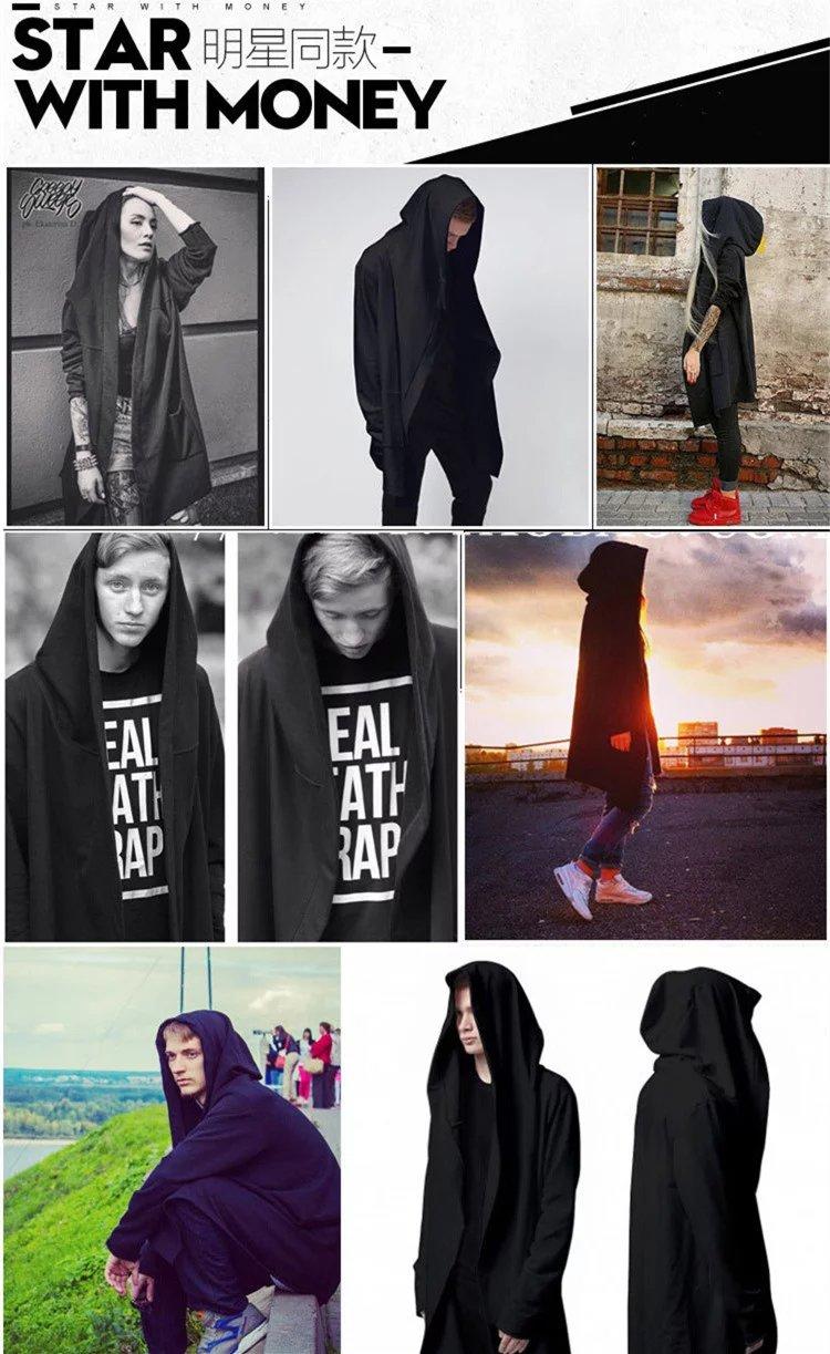 Trung bình và thủy triều dài thương hiệu phần mỏng màu đen sẫm với cùng một áo len phù thủy hoodie nam giới và phụ nữ những người yêu thích hip hop áo khoác áo choàng