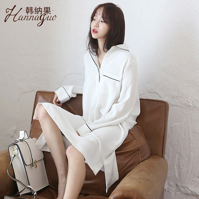 Spring and autumn in the long section of the Princess shirt nightdress sexy pajamas  female Winter Korean loose cotton students home service long-sleeved 621439c67