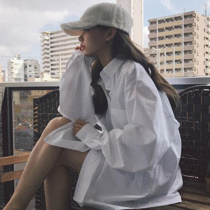2020年新款白衬衫女宽松设计感小众洋气外套外穿百搭长袖上衣秋装
