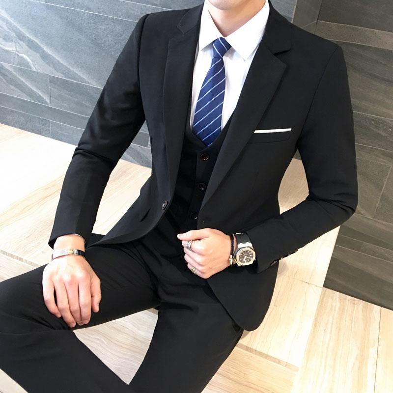 西装男套装三件套新郎礼服伴郎大码韩版帅气商务休闲西服职业装