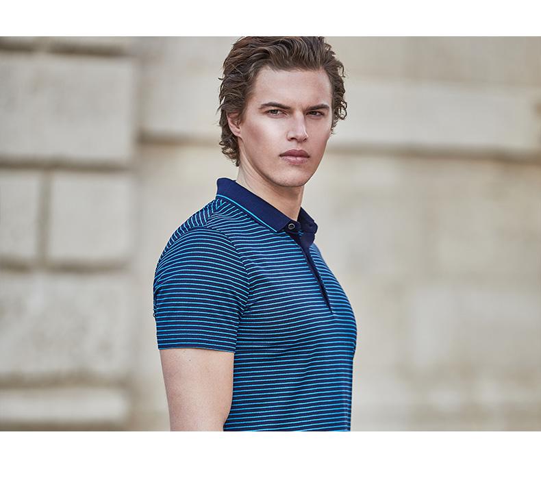 Jiu Mu Wang nam ngắn tay T-Shirt thời trang giản dị mercerized cotton kinh doanh ve áo Slim xu hướng sọc polo áo sơ mi nam áo phông có cổ
