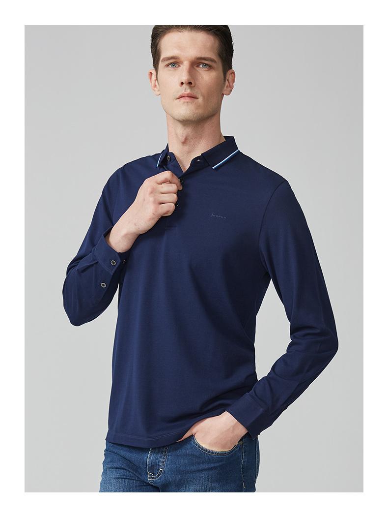 Chín động vật chăn nuôi nam giới 2018 mới trung niên của nam giới cha mặc giản dị tự trồng ve áo màu rắn dài tay T-Shirt nam áo polo nam