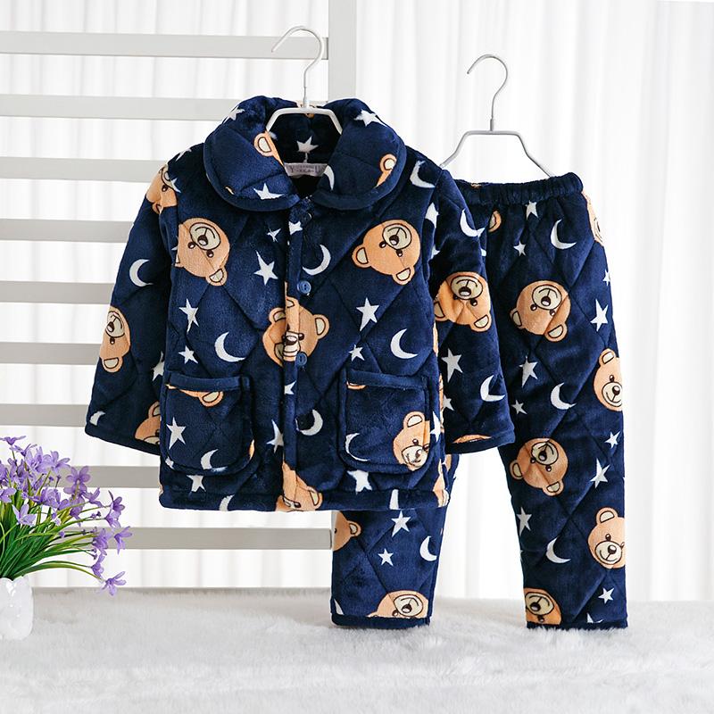 儿童睡衣法兰绒夹棉男女童冬季加厚加绒珊瑚绒家居服套装宝宝棉袄