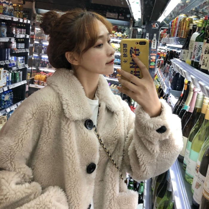 2018 new winter women's Korean version of the loose long paragraph lazy wind plush thick warm cotton coat cotton jacket