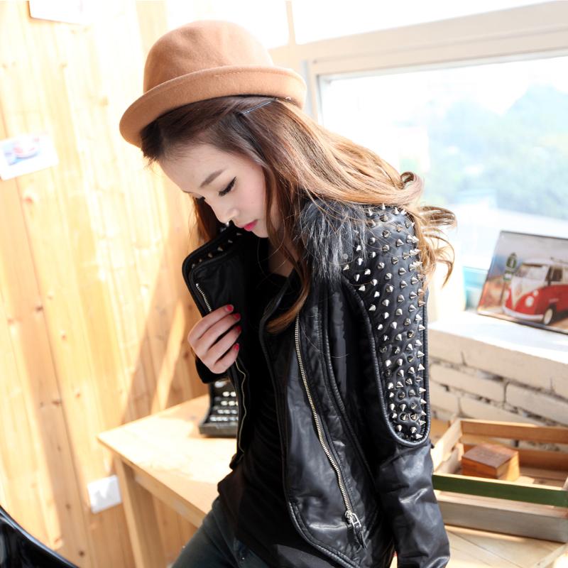 SX (váy) Hàn Quốc Cecilia Punk của phụ nữ đinh tán đầu máy thời trang PU da kích thước lớn áo khoác nữ áo khoác