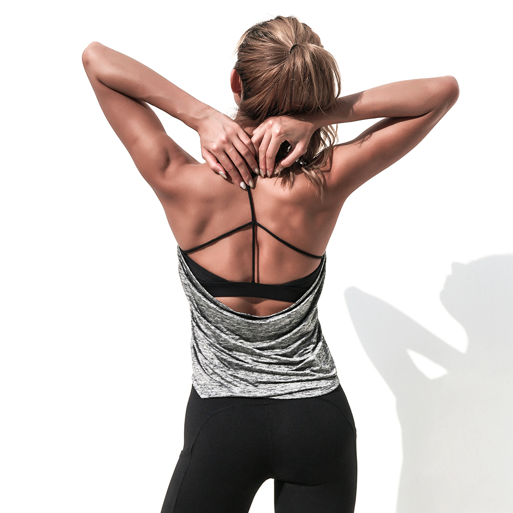 La Nikar sports vest women loose strap yoga clothes quick dry with a bra  gather fitness clothing beauty back